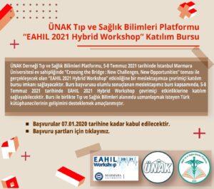 """ÜNAK Tıp ve Sağlık Bilimleri Platformu """"EAHIL 2021 Hybrid Workshop"""" Katılım Bursu verilecektir."""